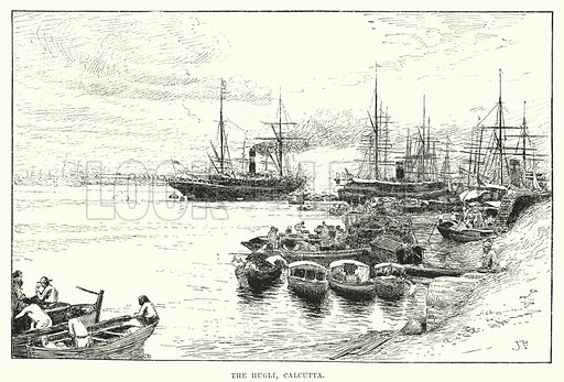 The Hugli, Calcutta. Illustration for Picturesque India, A Handbook for European Travellers (George Routledge, 1898).  Illustrations drawn by John Pedder (1850-1929), H Sheppard Dale (1852-1921), and H H Stanton (fl 1880-1905).