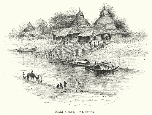 Kali Ghat, Calcutta. Illustration for Picturesque India, A Handbook for European Travellers (George Routledge, 1898).  Illustrations drawn by John Pedder (1850-1929), H Sheppard Dale (1852-1921), and H H Stanton (fl 1880-1905).