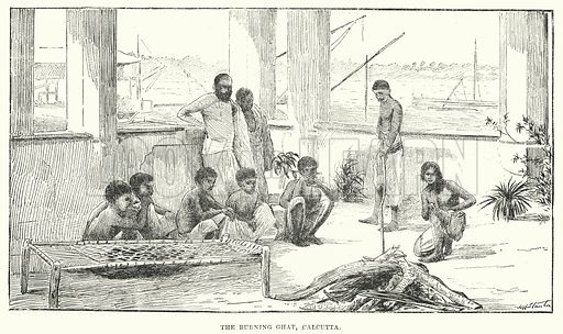 The Burning Ghat, Calcutta. Illustration for Picturesque India, A Handbook for European Travellers (George Routledge, 1898).  Illustrations drawn by John Pedder (1850-1929), H Sheppard Dale (1852-1921), and H H Stanton (fl 1880-1905).