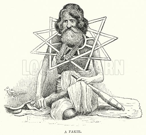 A Fakir. Illustration for Picturesque India, A Handbook for European Travellers (George Routledge, 1898).  Illustrations drawn by John Pedder (1850-1929), H Sheppard Dale (1852-1921), and H H Stanton (fl 1880-1905).