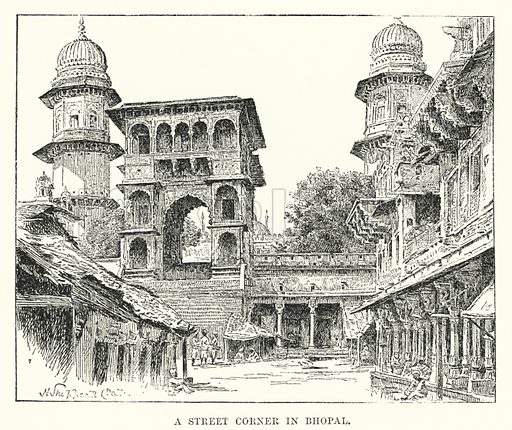 A Street Corner in Bhopal. Illustration for Picturesque India, A Handbook for European Travellers (George Routledge, 1898).  Illustrations drawn by John Pedder (1850-1929), H Sheppard Dale (1852-1921), and H H Stanton (fl 1880-1905).