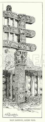 East Gateway, Sanchi Tope. Illustration for Picturesque India, A Handbook for European Travellers (George Routledge, 1898).  Illustrations drawn by John Pedder (1850-1929), H Sheppard Dale (1852-1921), and H H Stanton (fl 1880-1905).