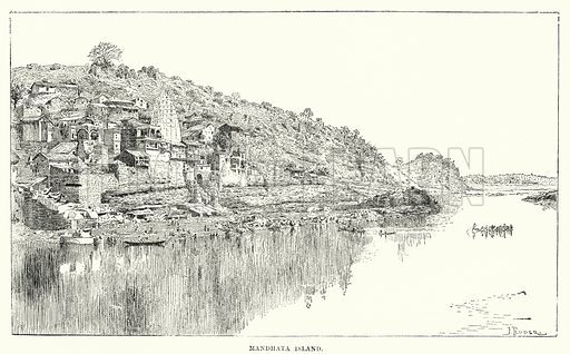 Mandhata Island. Illustration for Picturesque India, A Handbook for European Travellers (George Routledge, 1898).  Illustrations drawn by John Pedder (1850-1929), H Sheppard Dale (1852-1921), and H H Stanton (fl 1880-1905).