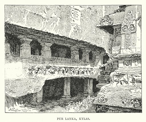 Pur Lanka, Kylas. Illustration for Picturesque India, A Handbook for European Travellers (George Routledge, 1898).  Illustrations drawn by John Pedder (1850-1929), H Sheppard Dale (1852-1921), and H H Stanton (fl 1880-1905).
