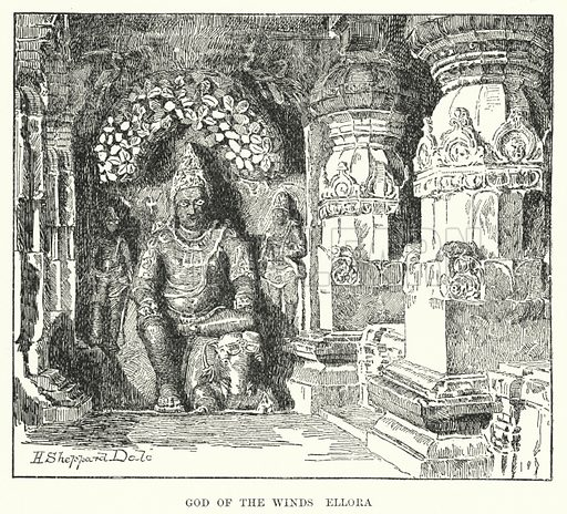 God of the Winds, Ellora. Illustration for Picturesque India, A Handbook for European Travellers (George Routledge, 1898).  Illustrations drawn by John Pedder (1850-1929), H Sheppard Dale (1852-1921), and H H Stanton (fl 1880-1905).
