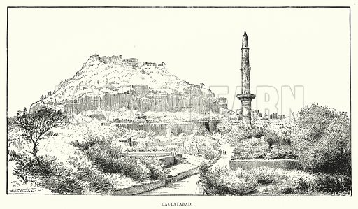 Daulatabad. Illustration for Picturesque India, A Handbook for European Travellers (George Routledge, 1898).  Illustrations drawn by John Pedder (1850-1929), H Sheppard Dale (1852-1921), and H H Stanton (fl 1880-1905).