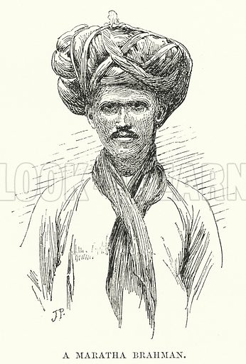 A Maratha Brahman. Illustration for Picturesque India, A Handbook for European Travellers (George Routledge, 1898).  Illustrations drawn by John Pedder (1850-1929), H Sheppard Dale (1852-1921), and H H Stanton (fl 1880-1905).
