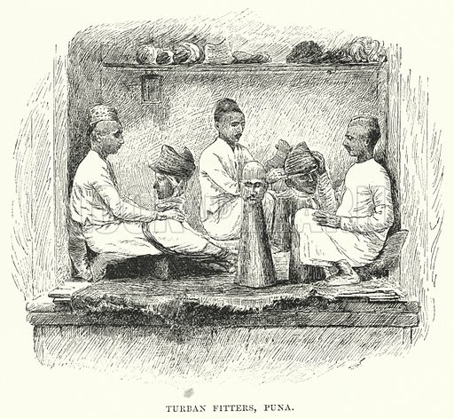 Turban Fitters, Puna. Illustration for Picturesque India, A Handbook for European Travellers (George Routledge, 1898).  Illustrations drawn by John Pedder (1850-1929), H Sheppard Dale (1852-1921), and H H Stanton (fl 1880-1905).