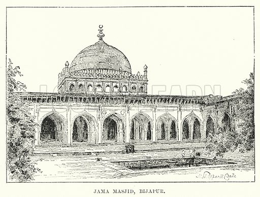 Jama Masjid, Bijapur. Illustration for Picturesque India, A Handbook for European Travellers (George Routledge, 1898).  Illustrations drawn by John Pedder (1850-1929), H Sheppard Dale (1852-1921), and H H Stanton (fl 1880-1905).