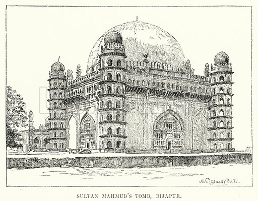 Sultan Mahmud's Tomb, Bijapur. Illustration for Picturesque India, A Handbook for European Travellers (George Routledge, 1898).  Illustrations drawn by John Pedder (1850-1929), H Sheppard Dale (1852-1921), and H H Stanton (fl 1880-1905).
