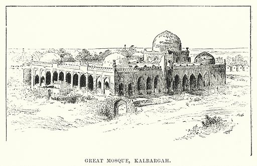 Great Mosque, Kalbargah. Illustration for Picturesque India, A Handbook for European Travellers (George Routledge, 1898).  Illustrations drawn by John Pedder (1850-1929), H Sheppard Dale (1852-1921), and H H Stanton (fl 1880-1905).