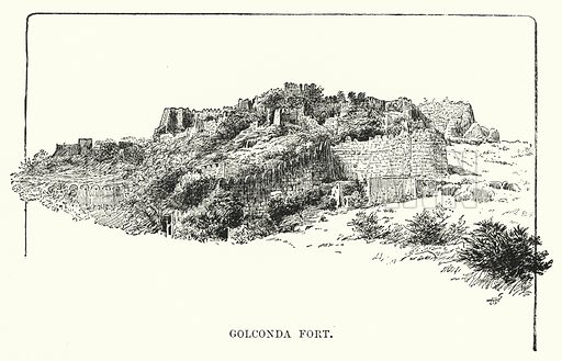 Golconda Fort. Illustration for Picturesque India, A Handbook for European Travellers (George Routledge, 1898).  Illustrations drawn by John Pedder (1850-1929), H Sheppard Dale (1852-1921), and H H Stanton (fl 1880-1905).