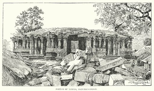 Portico of Temple, Hanumancondah. Illustration for Picturesque India, A Handbook for European Travellers (George Routledge, 1898).  Illustrations drawn by John Pedder (1850-1929), H Sheppard Dale (1852-1921), and H H Stanton (fl 1880-1905).