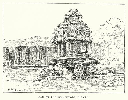 Car of the God Vitoba, Hampi. Illustration for Picturesque India, A Handbook for European Travellers (George Routledge, 1898).  Illustrations drawn by John Pedder (1850-1929), H Sheppard Dale (1852-1921), and H H Stanton (fl 1880-1905).