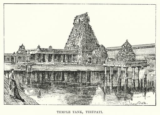 Temple Tank, Tirupati. Illustration for Picturesque India, A Handbook for European Travellers (George Routledge, 1898).  Illustrations drawn by John Pedder (1850-1929), H Sheppard Dale (1852-1921), and H H Stanton (fl 1880-1905).