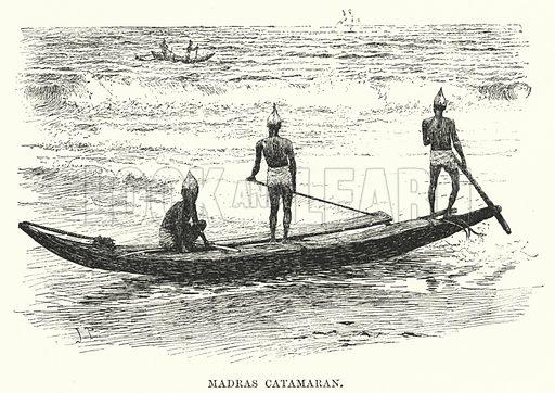 Madras Catamaran. Illustration for Picturesque India, A Handbook for European Travellers (George Routledge, 1898).  Illustrations drawn by John Pedder (1850-1929), H Sheppard Dale (1852-1921), and H H Stanton (fl 1880-1905).