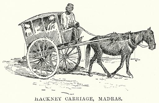 Hackney Carriage, Madras. Illustration for Picturesque India, A Handbook for European Travellers (George Routledge, 1898).  Illustrations drawn by John Pedder (1850-1929), H Sheppard Dale (1852-1921), and H H Stanton (fl 1880-1905).