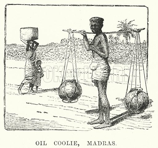Oil Coolie, Madras. Illustration for Picturesque India, A Handbook for European Travellers (George Routledge, 1898).  Illustrations drawn by John Pedder (1850-1929), H Sheppard Dale (1852-1921), and H H Stanton (fl 1880-1905).