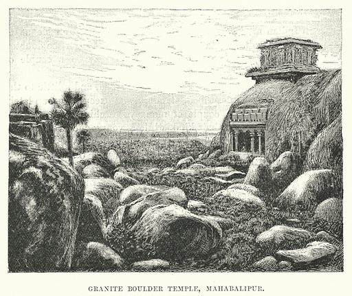 Granite Boulder Temple, Mahabalipur. Illustration for Picturesque India, A Handbook for European Travellers (George Routledge, 1898).  Illustrations drawn by John Pedder (1850-1929), H Sheppard Dale (1852-1921), and H H Stanton (fl 1880-1905).