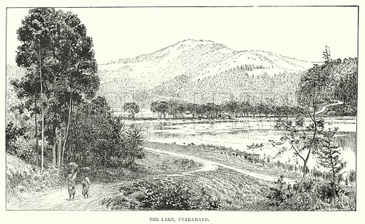 The Lake, Utakamand. Illustration for Picturesque India, A Handbook for European Travellers (George Routledge, 1898).  Illustrations drawn by John Pedder (1850-1929), H Sheppard Dale (1852-1921), and H H Stanton (fl 1880-1905).