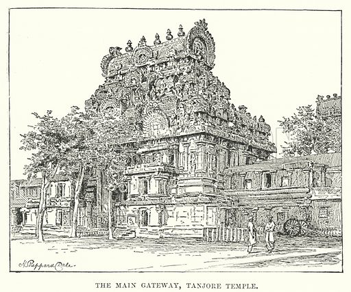 The Main Gateway, Tanjore Temple. Illustration for Picturesque India, A Handbook for European Travellers (George Routledge, 1898).  Illustrations drawn by John Pedder (1850-1929), H Sheppard Dale (1852-1921), and H H Stanton (fl 1880-1905).