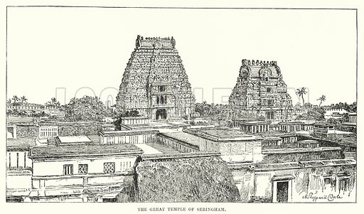 The Great Temple of Seringham. Illustration for Picturesque India, A Handbook for European Travellers (George Routledge, 1898).  Illustrations drawn by John Pedder (1850-1929), H Sheppard Dale (1852-1921), and H H Stanton (fl 1880-1905).