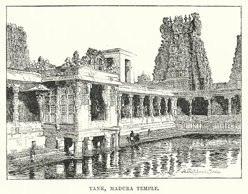 Tank, Madura Temple. Illustration for Picturesque India, A Handbook for European Travellers (George Routledge, 1898).  Illustrations drawn by John Pedder (1850-1929), H Sheppard Dale (1852-1921), and H H Stanton (fl 1880-1905).