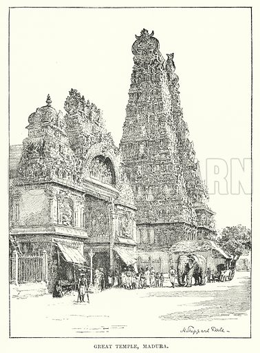 Great Temple, Madura. Illustration for Picturesque India, A Handbook for European Travellers (George Routledge, 1898).  Illustrations drawn by John Pedder (1850-1929), H Sheppard Dale (1852-1921), and H H Stanton (fl 1880-1905).