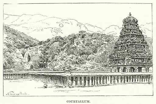 Courtallum. Illustration for Picturesque India, A Handbook for European Travellers (George Routledge, 1898).  Illustrations drawn by John Pedder (1850-1929), H Sheppard Dale (1852-1921), and H H Stanton (fl 1880-1905).
