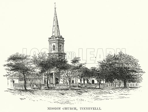 Mission Church, Tinnevelli. Illustration for Picturesque India, A Handbook for European Travellers (George Routledge, 1898).  Illustrations drawn by John Pedder (1850-1929), H Sheppard Dale (1852-1921), and H H Stanton (fl 1880-1905).