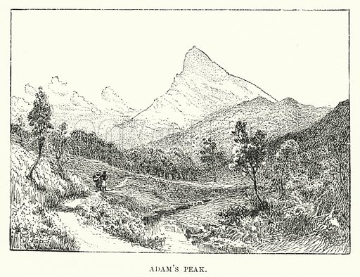 Adam's Peak. Illustration for Picturesque India, A Handbook for European Travellers (George Routledge, 1898).  Illustrations drawn by John Pedder (1850-1929), H Sheppard Dale (1852-1921), and H H Stanton (fl 1880-1905).