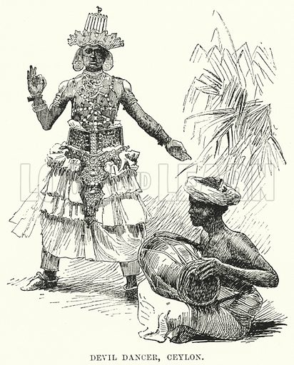 Devil Dancer, Ceylon. Illustration for Picturesque India, A Handbook for European Travellers (George Routledge, 1898).  Illustrations drawn by John Pedder (1850-1929), H Sheppard Dale (1852-1921), and H H Stanton (fl 1880-1905).