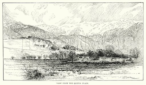 View from the Quetta Plain. Illustration for Picturesque India, A Handbook for European Travellers (George Routledge, 1898).  Illustrations drawn by John Pedder (1850-1929), H Sheppard Dale (1852-1921), and H H Stanton (fl 1880-1905).