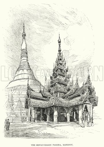 The Shway-Dagon Pagoda, Rangoon. Illustration for Picturesque India, A Handbook for European Travellers (George Routledge, 1898). Illustrations drawn by John Pedder (1850–1929), H Sheppard Dale (1852–1921), and HH Stanton (fl 1880–1905).