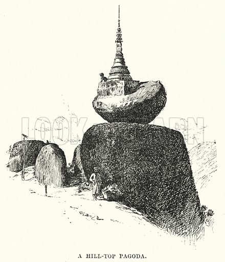A Hill-Top Pagoda. Illustration for Picturesque India, A Handbook for European Travellers (George Routledge, 1898).  Illustrations drawn by John Pedder (1850-1929), H Sheppard Dale (1852-1921), and H H Stanton (fl 1880-1905).