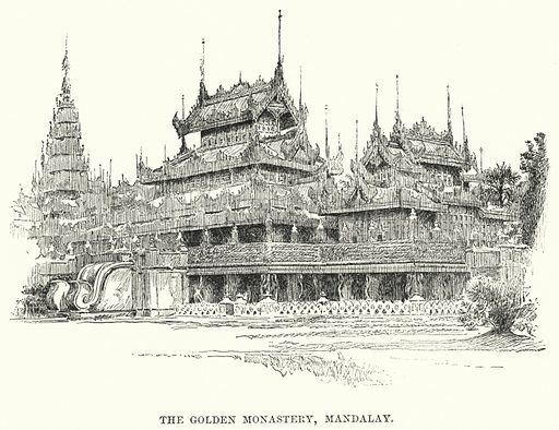 The Golden Monastery, Mandalay. Illustration for Picturesque India, A Handbook for European Travellers (George Routledge, 1898).  Illustrations drawn by John Pedder (1850-1929), H Sheppard Dale (1852-1921), and H H Stanton (fl 1880-1905).