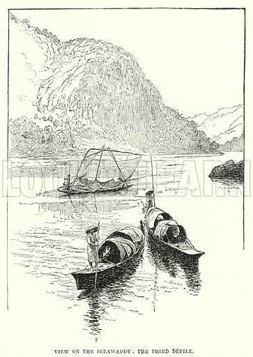 View on the Irrawaddy, The Third Defile. Illustration for Picturesque India, A Handbook for European Travellers (George Routledge, 1898).  Illustrations drawn by John Pedder (1850-1929), H Sheppard Dale (1852-1921), and H H Stanton (fl 1880-1905).