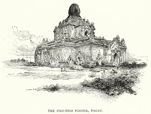 The Tilo-Milo Pagoda, Pagan. Illustration for Picturesque India, A Handbook for European Travellers (George Routledge, 1898).  Illustrations drawn by John Pedder (1850-1929), H Sheppard Dale (1852-1921), and H H Stanton (fl 1880-1905).