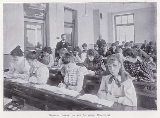 Business Handwriting and Arithmetic Department. Illustration for Prospectus of Pitman's Metropolitan School (Shorthand, Typewriting, Book-keeping, Languages, General Business Training, and Preparation for Civil Service and other Examinations), Southampton Row, London WC, April 1900.