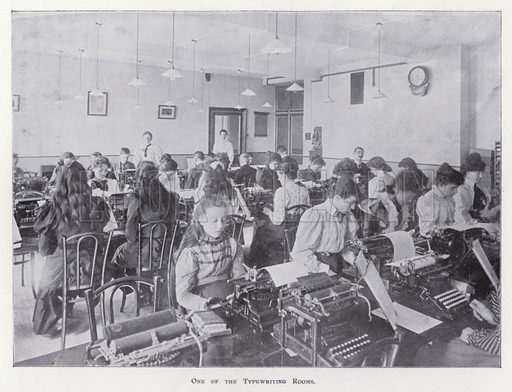 One of the Typewriting Rooms. Illustration for Prospectus of Pitman's Metropolitan School (Shorthand, Typewriting, Book-keeping, Languages, General Business Training, and Preparation for Civil Service and other Examinations), Southampton Row, London WC, April 1900.