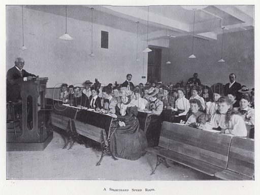 A Shorthand Speed Room. Illustration for Prospectus of Pitman's Metropolitan School (Shorthand, Typewriting, Book-keeping, Languages, General Business Training, and Preparation for Civil Service and other Examinations), Southampton Row, London WC, April 1900.