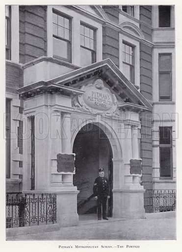 The Portico. Illustration for Prospectus of Pitman's Metropolitan School (Shorthand, Typewriting, Book-keeping, Languages, General Business Training, and Preparation for Civil Service and other Examinations), Southampton Row, London WC, April 1900.