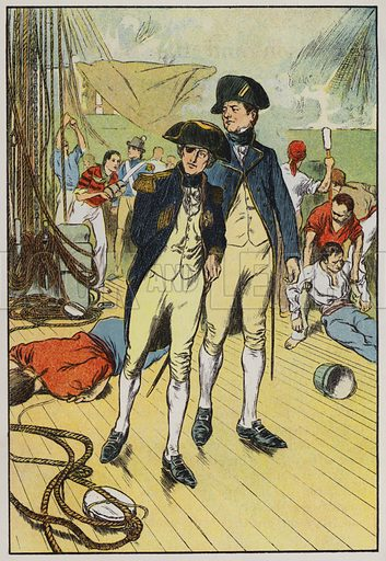 """Nelson on his ship the """"Victory."""" Illustration for A Play-Book of History by Mrs A A Whiddington (Blackie, c 1911)."""