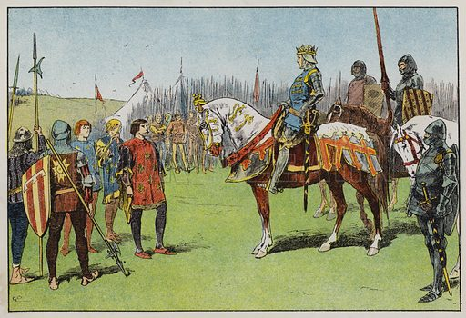 Henry V before the Battle of Agincourt. Illustration for A Play-Book of History by Mrs A A Whiddington (Blackie, c 1911).