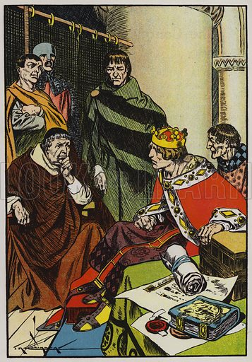Henry II and his courtiers. Illustration for A Play-Book of History by Mrs A A Whiddington (Blackie, c 1911).