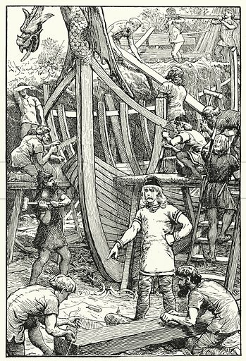 Building King Alfred's navy. Illustration for A Play-Book of History by Mrs A A Whiddington (Blackie, c 1911).