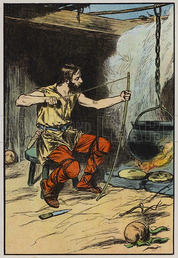 Alfred and the cakes. Illustration for A Play-Book of History by Mrs A A Whiddington (Blackie, c 1911).