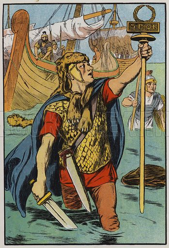 The Roman soldiers landing on Britain. Illustration for A Play-Book of History by Mrs A A Whiddington (Blackie, c 1911).