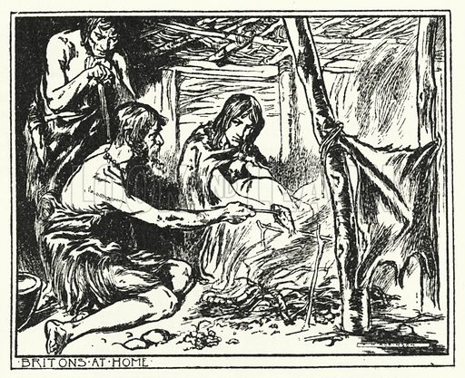 Britons at home. Illustration for A Play-Book of History by Mrs A A Whiddington (Blackie, c 1911).