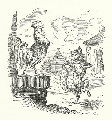 The Cock And The Fox. Illustration for The Old Story-Teller, Popular German Tales collected by Ludwig Bechstein, with illustrations by Richter (Addey, 1854).